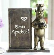 Aluminum Rustic Black Bear With Chef Hat Standing By A Menu Board Statue 12.5h