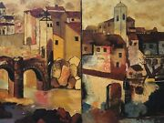 🔥 Antique Mid Century Modern Cubist Impressionist Oil Paintings 2, Signed