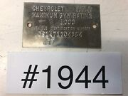 1969 1970 Chevrolet Truck C10 Made In Canada Vehicle Id Tag 5000 Gvw 1944