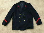 Vintage French Military Peacoat Heavy Wool Naval Uniform Large Red Patches
