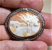 1 Sterling Hand Carved Shell Cameo, Country Farm Road Scene, Filigree, Necklace