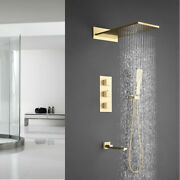 Brushed Gold Brass Bathroom Shower Faucet Set 4 Way Thermostatic Valve Mixer Tap
