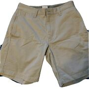 Gap Mens Unisex Hudson Size 28 Olive Green Cotton Zip Flat Front Pocket Shorts