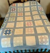 Antique Hole In The Barn Door Pattern Quilt 1910 1930 Blue Purple Farmhouse Old
