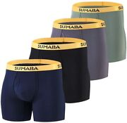 Sumaba Long Leg Men Underwear Boxer Briefs Fly With Pouch No Ride Up Bamboo Unde