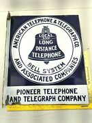 American Telephone And Telegraph Co. Porcelain Flange Sign Original Antique