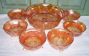 7pc Fenton Carnival Glass 3-toe Footed Marigold Butterfly Berry Bowl Dessert Set