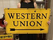 Authentic 1940s Western Union Telegraph Double-sided Porcelain Sign 30andrdquox17 1/2andrdquo