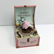 Vtg. Schmid Kitty Cucumber Moving Kittyand039s Toy Chest Music Box Pink Train Tested