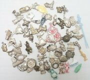 Vintage Lot Gumball Cracker Jack Prize Charms Metal Plastics 68 Pieces As Is