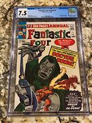 Fantastic Four Annual 2 Cgc 7.5 Ow- White Pages High End Origin Dr. Doom Hot