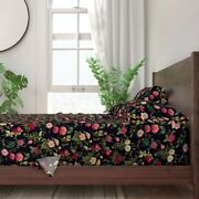 Floral Flowers Dragonfly Dragonflies 100 Cotton Sateen Sheet Set By Roostery