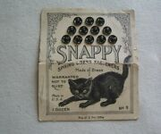 Rare Antique Snappy Black Kitty Cat Logo Snap Fasteners On Original Card