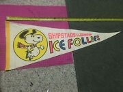 Vintage Shipstads And Johnson Ice Follies Snoopy Ice Skating Pennant Fast Shipper