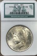 1923 Binion Collection Ngc Ms65 Peace Silver Dollar