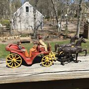 Vintage Stanley Toys Cast Aluminum Horse Drawn Carriage Red Wagon