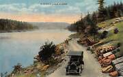 Postcard Id Idaho Lake Scene With Old Ford Model T On Gravel Road Vintage Pc