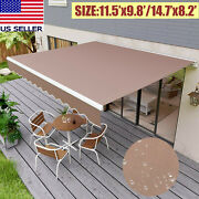 Patio Awning Manual Retractable Sun Shade Awning Outdoor Deck Canopy Shelter Us.