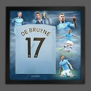 Kevin De Bruyne Signed Man City Football Shirt In A Framed Picture Display