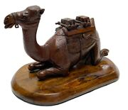 Antique Continental Hand Carved Novelty Ink Stand And Pen Tray Camel Formed