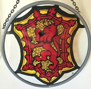Hand Painted Stained Glass Window Sun Catcher Lion Rampant Scotland Winged Heart