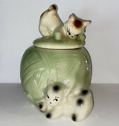American Bisque Art Pottery Kittens Cookie Jar Ball Yarn Kitty Cats Vintage Usa