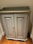 Antique Painted Blue Cupboard Silver Gray 36 - 42 Tall 33 Wide And 17 Deep