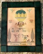 18th Century Motif And Alphabet Sampler Annony France Dated 1793 Framed