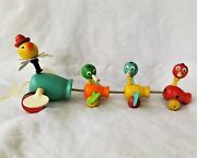 Vintage Fisher Price Wooden Pull Toy Momma Duck And 3 Babies