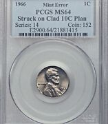 1966 Pcgs Ms64 Lincoln Cent On Dime Planchet 🔴 1c On 10c ✅✅ 2nd Year Of Clad 💜
