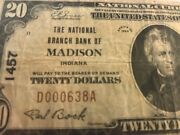 1929 20 Madison, In Indiana National Banknote Ch. 1457 Serial 638