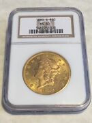 1880-s Ms60 Ngc Liberty Double Eagle 20 Gold Coin Pq Great Appeal No Pcgs