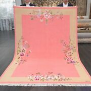 Yilong 5.5and039x8and039 Pink Hand Knotted Wool Rug Chinese Art Deco Classic Woolen Carpet