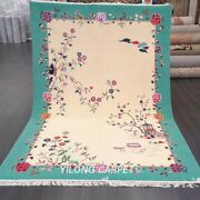 Yilong 6and039x9and039 Floral Hand Knotted Chinese Art Deco Wool Rug Soft Thick Carpets