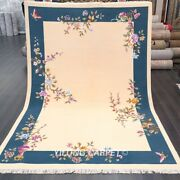 Yilong 6and039x9and039 Vintage Hand Knotted Chinese Art Deco Wool Rug Handmade Carpets