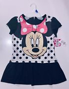 Minnie Mouse Minidress 14-16 Girls Black Xl Mm Face On Dot Discontinued