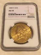 1880-s Au55 Ngc Liberty Double Eagle 20 Gold Coin Very Nice Appeal No Pcgs