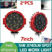 2pcs 7inch 51w Led Work Lights Offroad Bumper Red Pods Round Tractor Atv 4wd Suv