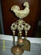 Antique Brass English Coal Rooster/chicken Theme Fireplace Set 4 Piece Tools