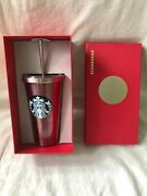 2014 Starbucks Rose Pink Stainless 16 Oz Cold Cup With Metal Straw New In Box