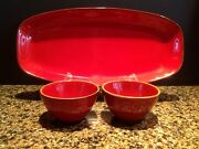 Htf Crate And Barrel Red Carmen Platter + 2 Small Bowls