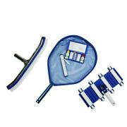 Vacuum Leaf Skimmer Wall Brush Thermometer And Test Kit 5 Piece Swimming Pool