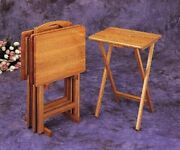 Wooden Tray Table Set Folding Portable Stand Tv Dinner Snack Table Cherry Oak