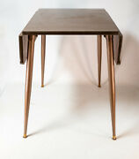 Vintage 1960andrsquos Formica Top Drop Leaf Table W/ Peg Legs 26x21 Or 26x35 Open Mcm