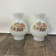 Pair Of Milk Glass Hurricane Lamp Shades With Floral Pattern