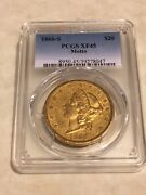 1866-s Xf45 Pcgs Liberty Double Eagle 20 Gold Coin Eyeclean Original Skin