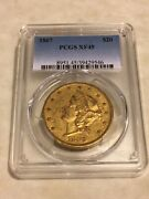 1867 Xf45 Pcgs 20 Liberty Double Eagle Gold Coin Eyeclean Orig Skin Rare Pmint