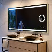 Led Illuminated Bathroom Mirror With Back Cover   Bluetooth   Make-up   09 Brown