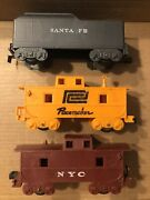 Lot Of 3 Vintage Marx O Gauge Pacemaker Santa Fe/ Nyc Caboose And Coal Tender