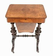 Victorian Sewing Table Antique Burr Walnut 1860 Side Tables